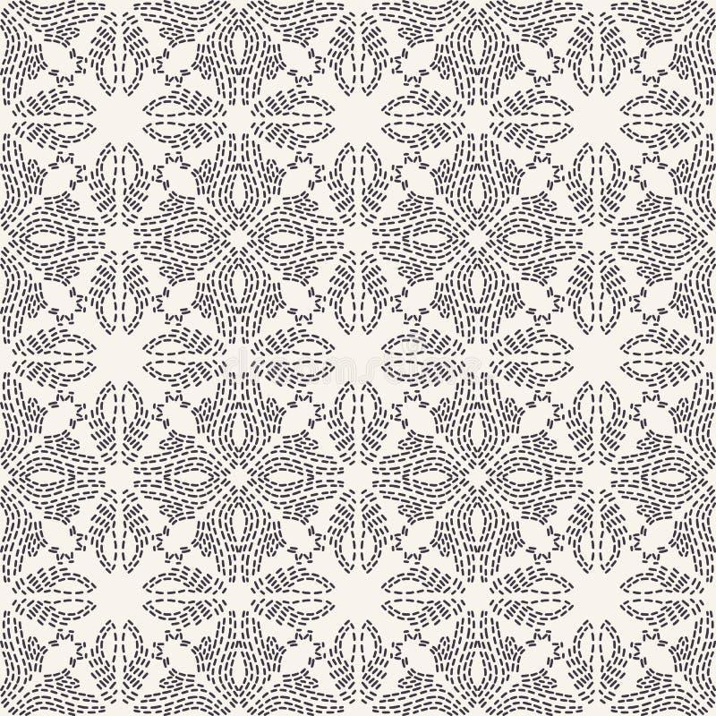 花连续针刺绣样式 简单的针线无缝的传染媒介背景 手拉的几何花卉马赛克纺织品 皇族释放例证