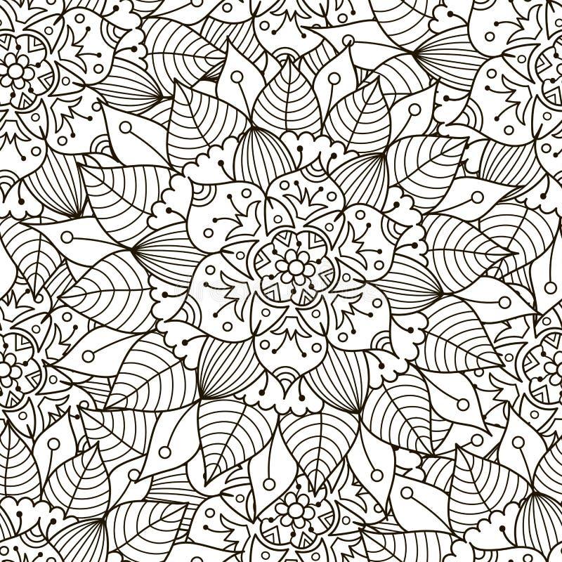 花饰无缝的样式 黑白圆的装饰品纹理 向量例证