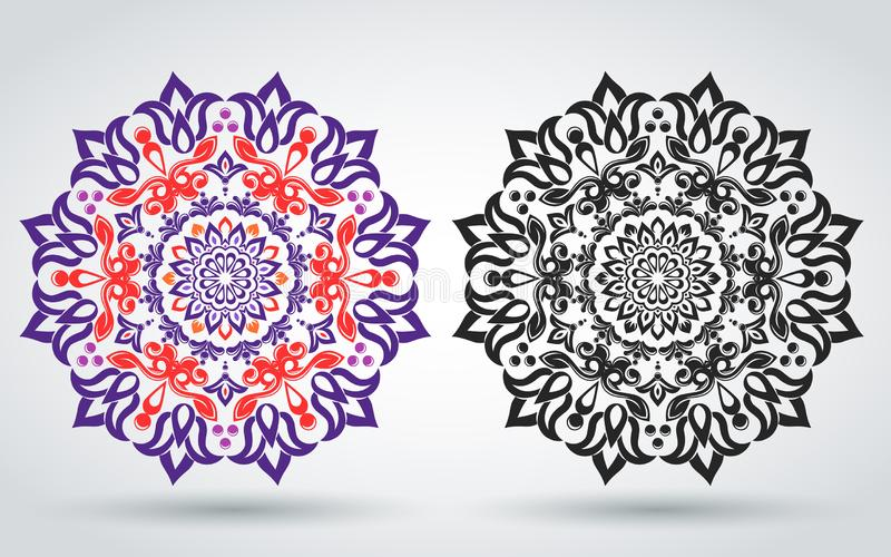花饰 也corel凹道例证向量 坛场的东方样式 伊斯兰教,阿拉伯,印度样式 明亮的葡萄酒装饰el 向量例证