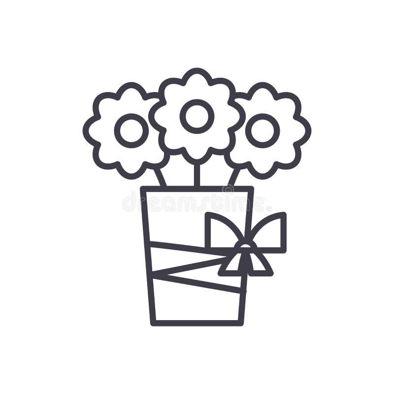 花黑象概念花束  花平的传染媒介标志,标志,例证花束  皇族释放例证