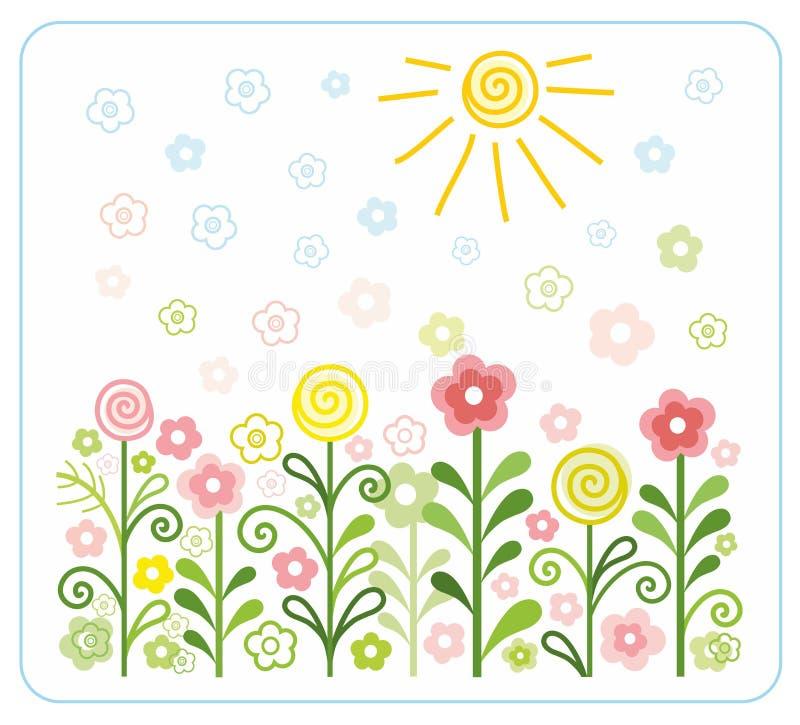 花,太阳,孩子,平,色例证 皇族释放例证