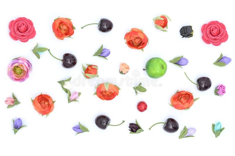 花,果子,构成 免版税图库摄影