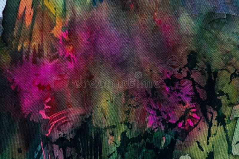 花,热的蜡染布,背景纹理,手工制造在丝绸 库存例证