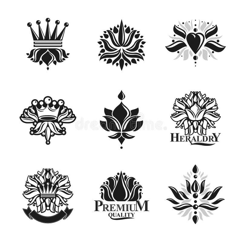 花,皇家标志,花卉和冠,被设置的象征 纹章学徽章装饰商标被隔绝的传染媒介例证 库存例证