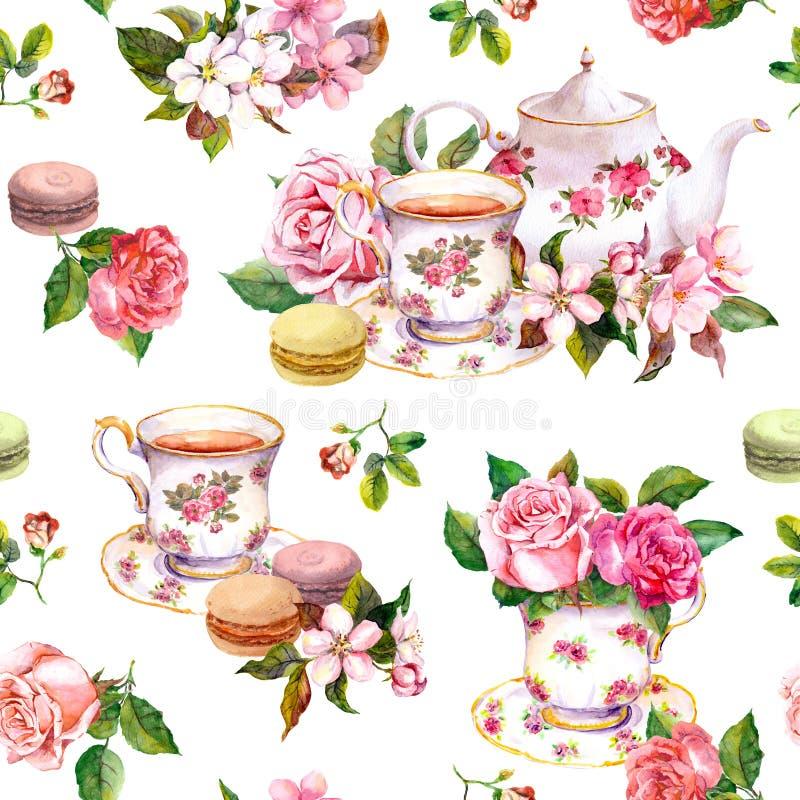 花,茶杯,蛋糕,蛋白杏仁饼干,罐 水彩 无缝的背景 库存例证