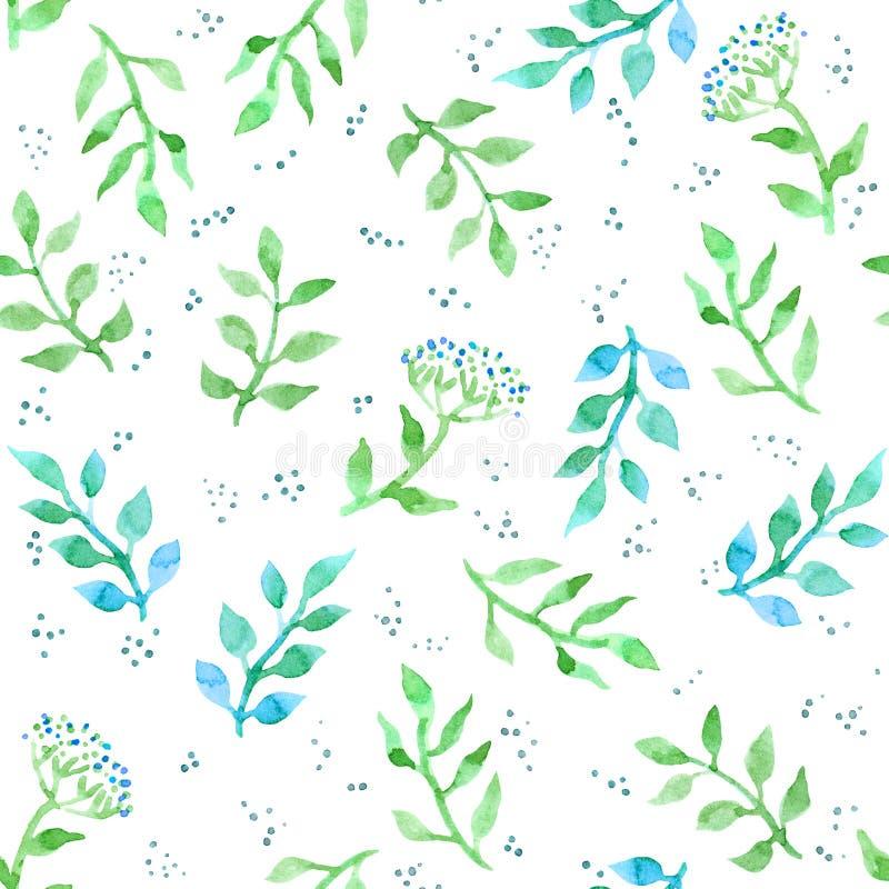 花,草本,草地早熟禾 逗人喜爱的ditsy无缝的样式 葡萄酒水彩 库存例证