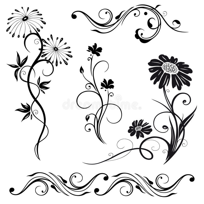 花,草甸,集合 皇族释放例证