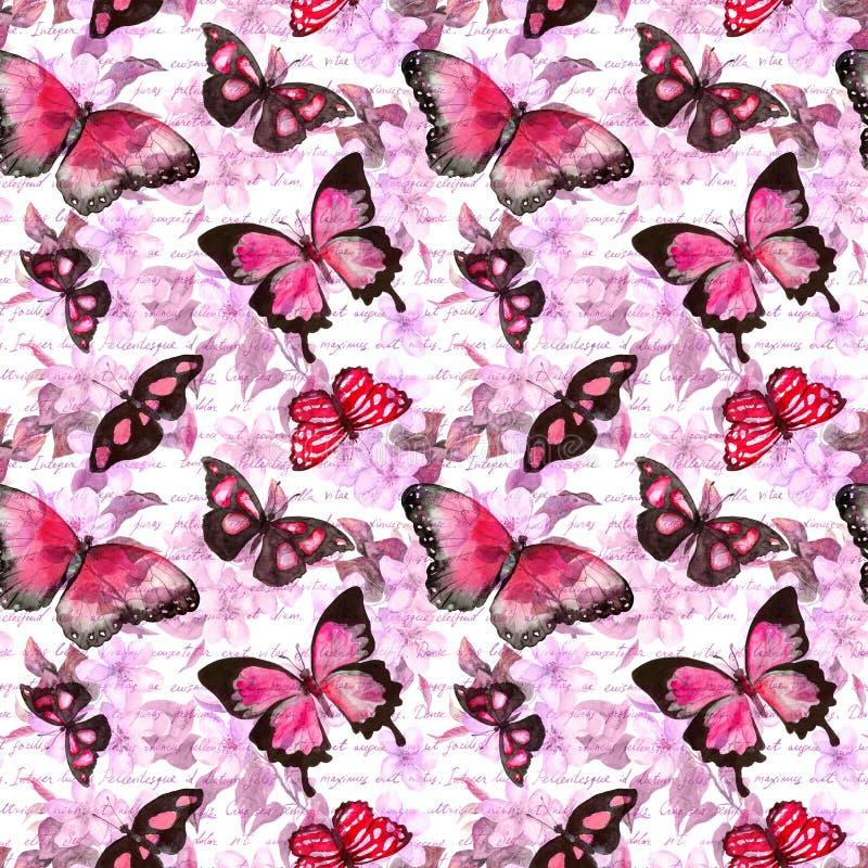 花,蝴蝶,手写的文本信件 水彩 无缝的模式 向量例证