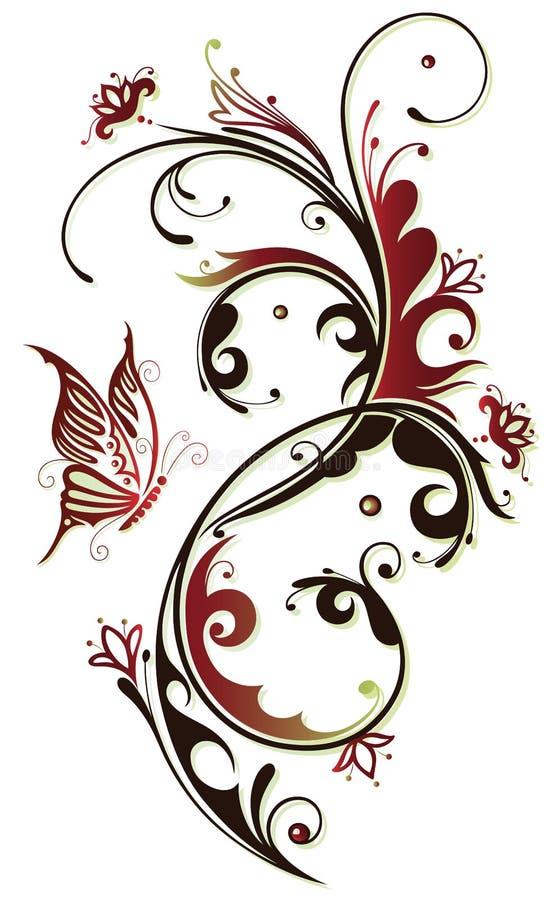 花,蝴蝶,葡萄酒 向量例证