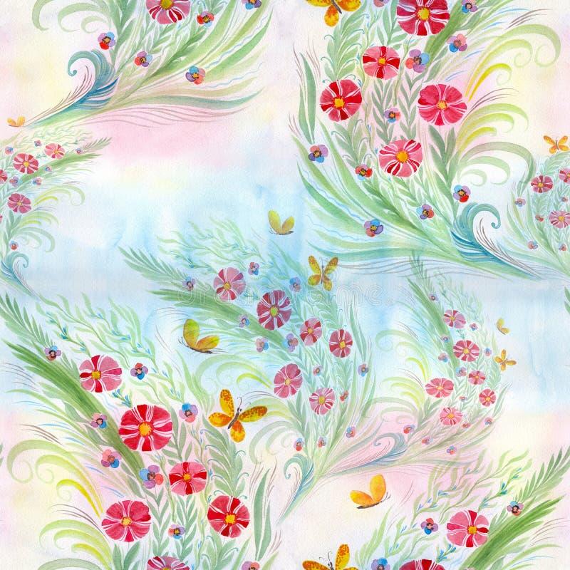花 与叶子、花和芽的花束 水彩 无缝的模式 向量例证
