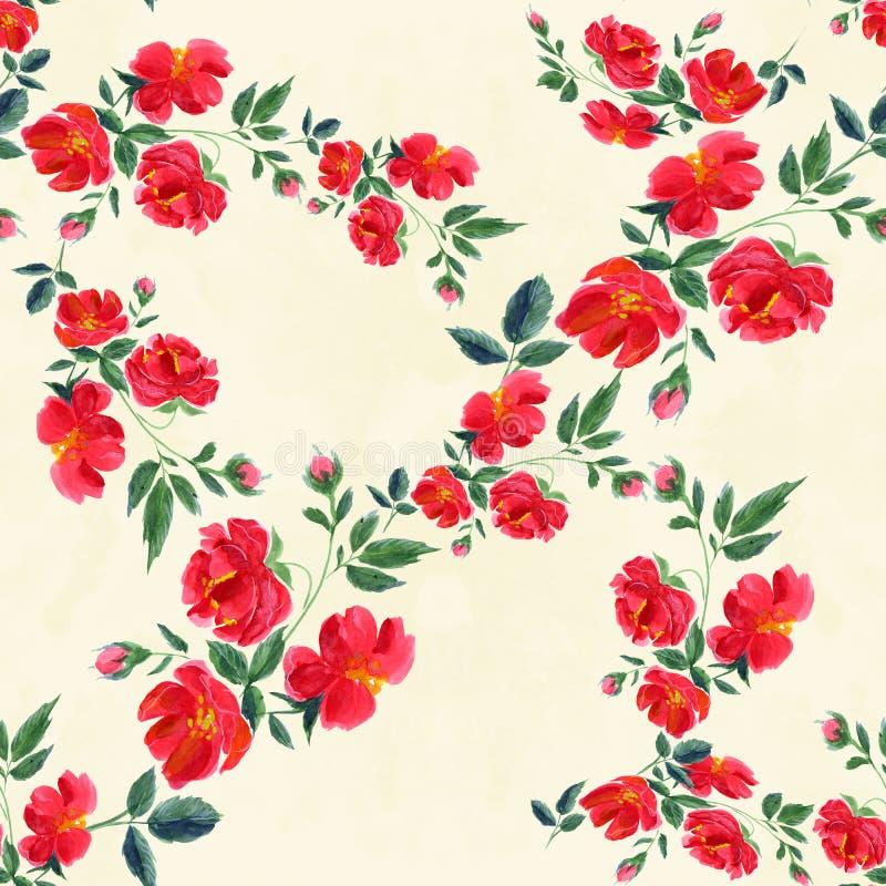 花 与花卉主题的抽象墙纸 无缝的啪答声 向量例证