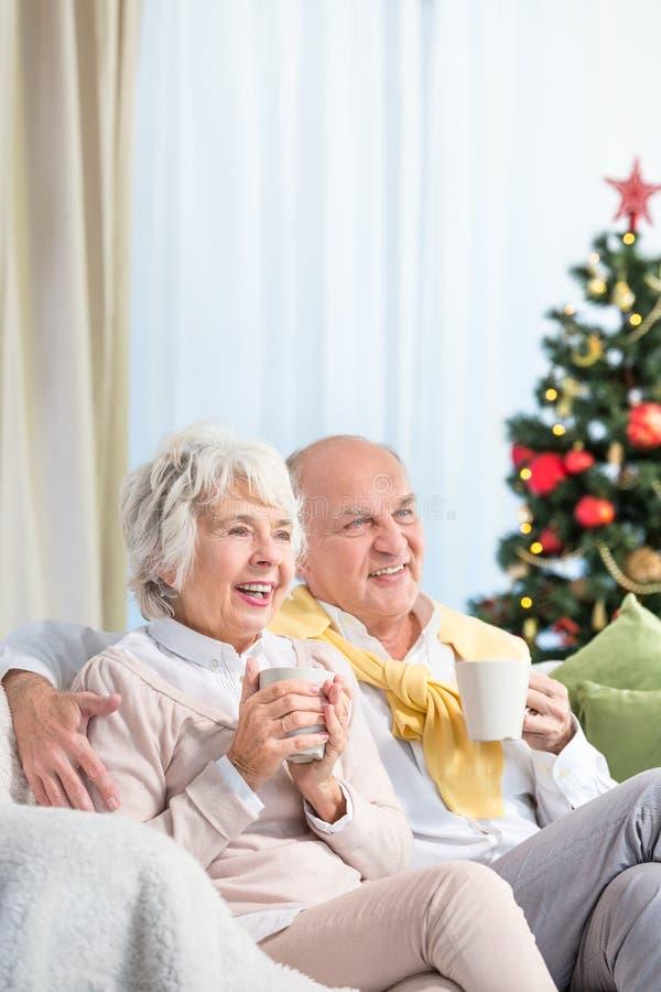 花费圣诞节的前辈一起平衡 库存图片