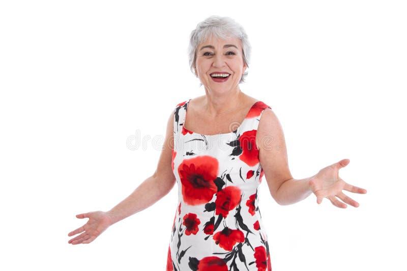 花费地球的被隔绝的愉快的年长妇女-! 库存照片
