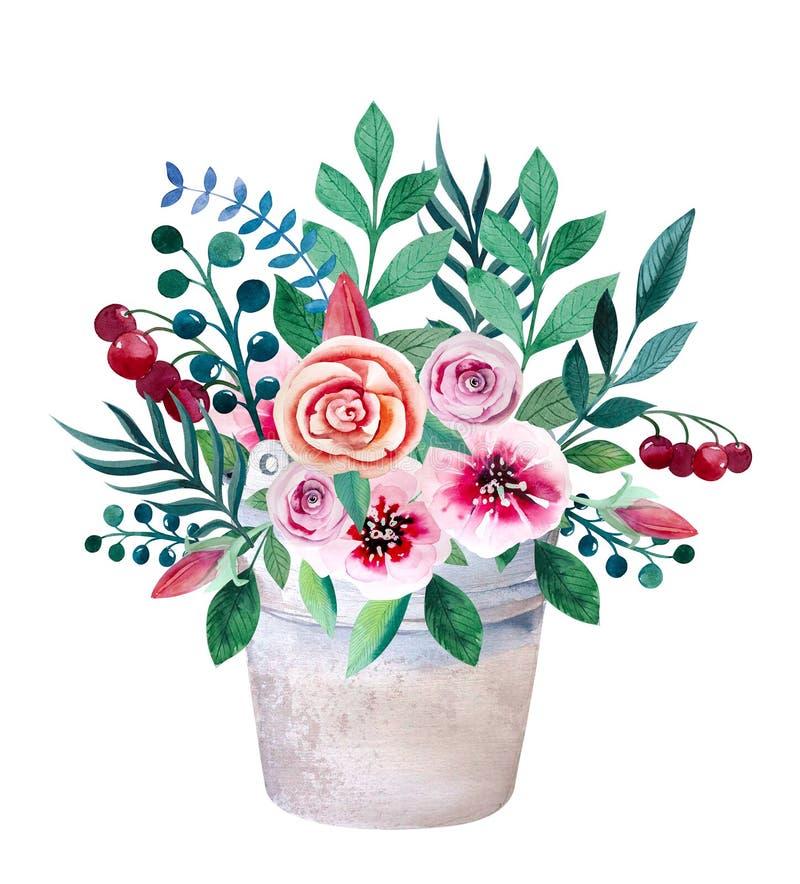 花水彩花束在罐的 土气 向量例证