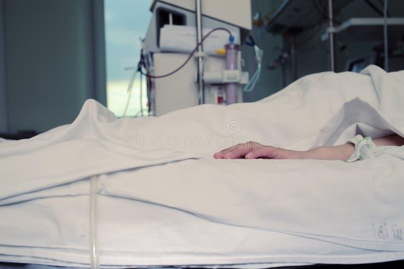 花费时间的患者的无生命的手在hospi的治疗上 库存图片