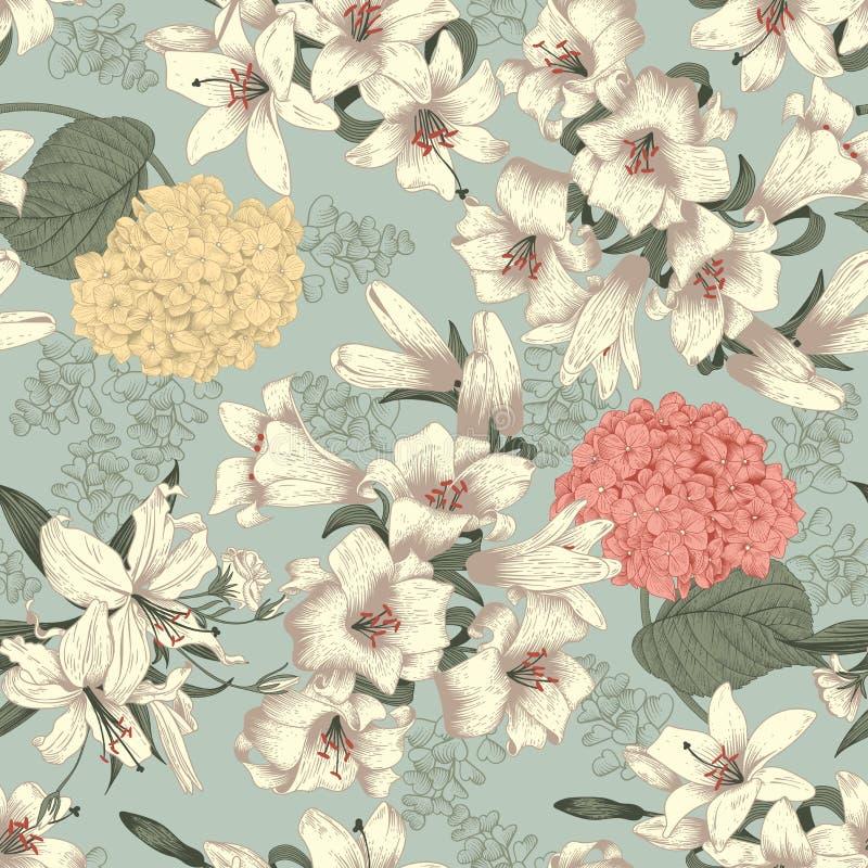 花 空白的百合 背景无缝的向量 葡萄酒花卉模式 bossies 向量例证