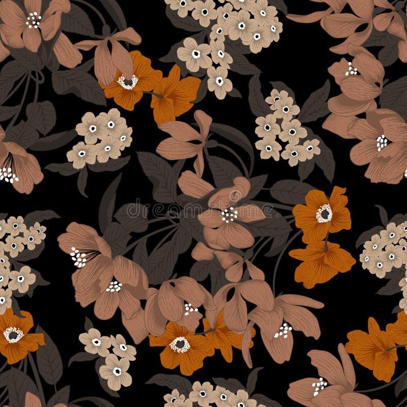 花 背景无缝的向量 花纹理 蝴蝶下落花卉花重点模式黄色 葡萄酒 经典 bossies 向量例证