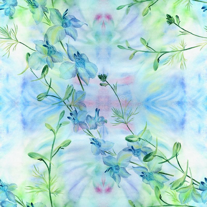 花-装饰构成 水彩 无缝的模式 使用铅印材料,标志,项目,网站,地图,海报, po 皇族释放例证