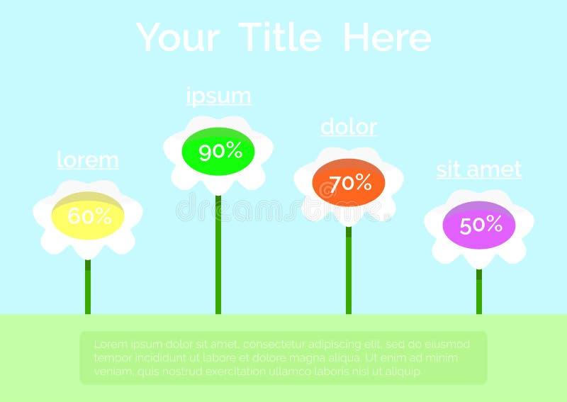 花infographics模板 与地方的五颜六色的创造性的infographics设计文本的 平的样式 库存例证
