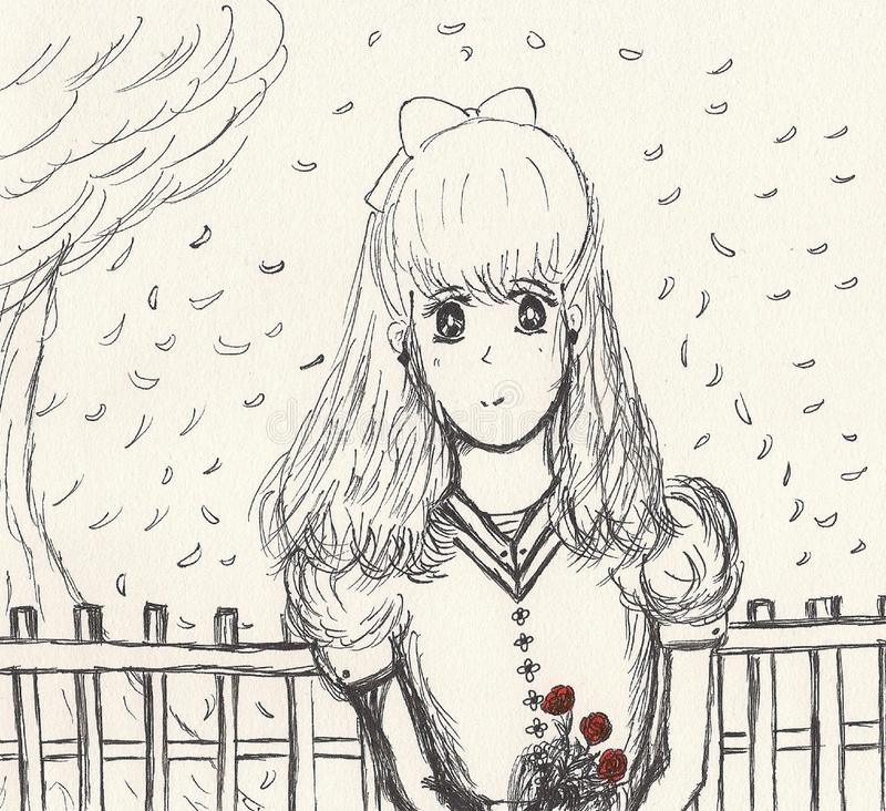 芳香树脂女孩样式图画有玫瑰的 向量例证