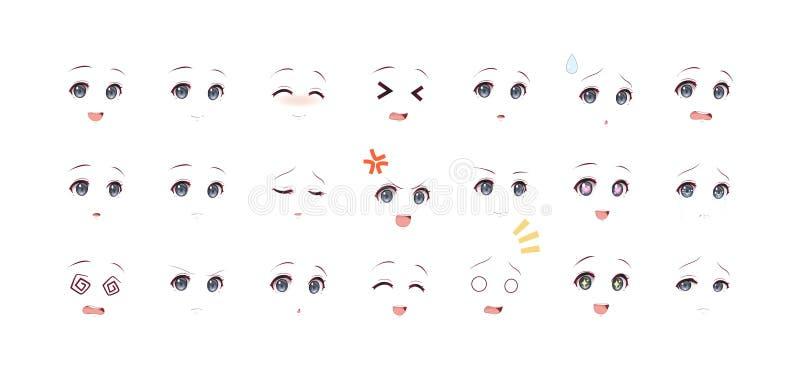 芳香树脂manga女孩的情感黑眼圈 库存例证