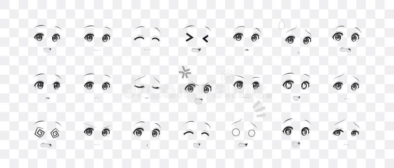 芳香树脂manga女孩的黑白情感眼睛 库存例证