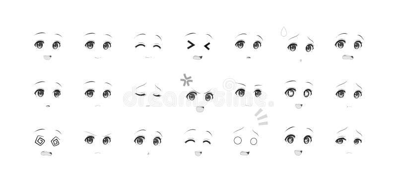 芳香树脂manga女孩的黑白情感眼睛 向量例证