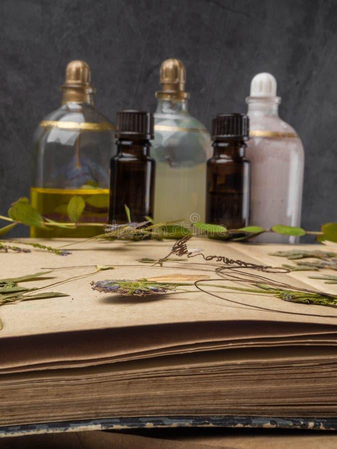芳香精油和化妆瓶在干花中,医药草本品种 天然化妆品和skincare,草本 免版税库存照片