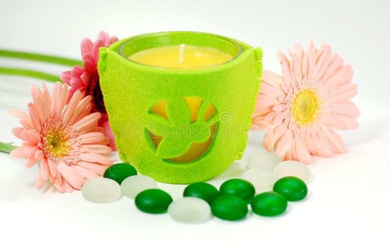 芳香蜡烛疗法 免版税库存照片