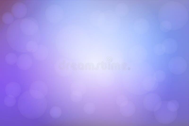 苍白紫色蓝色弄脏了与bokeh光的背景 库存例证