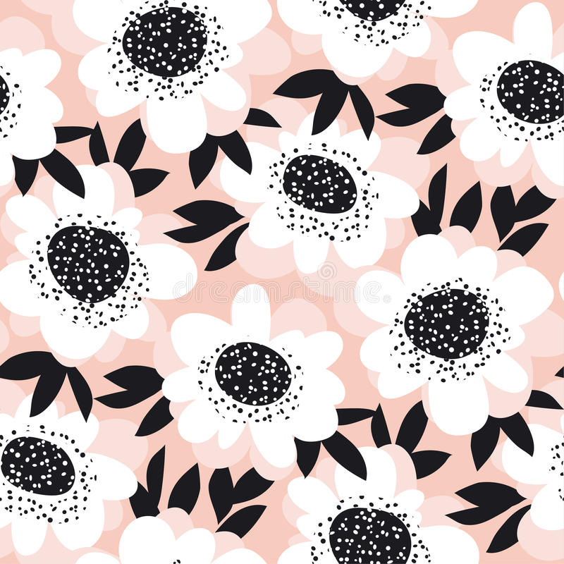 苍白颜色摘要玫瑰色花无缝的样式 皇族释放例证