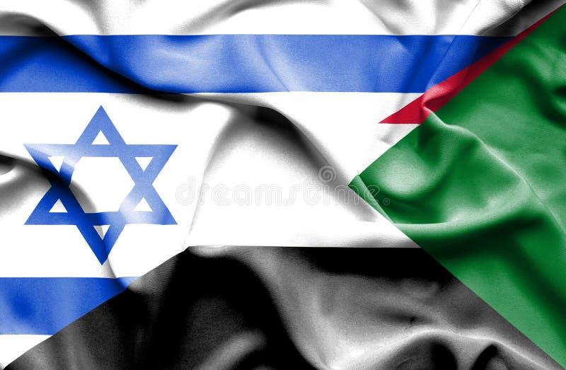 苏丹和以色列的挥动的旗子 皇族释放例证