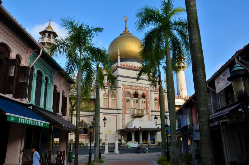 苏丹清真寺、棕榈树和阿拉伯街道新加坡 免版税图库摄影