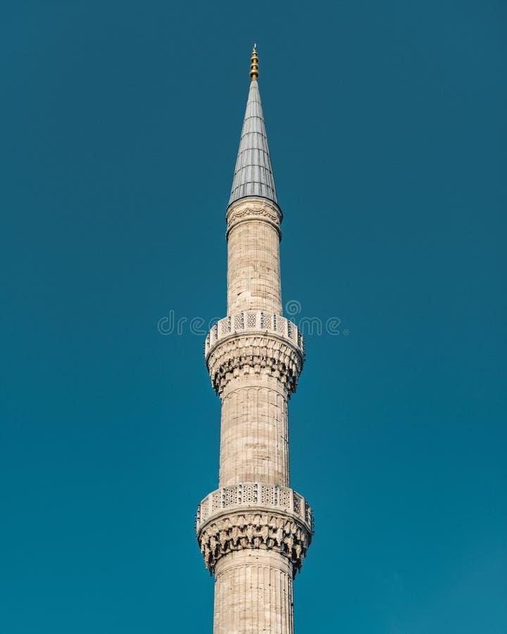 苏丹艾哈迈德清真寺-回教标志/祷告信号呼号奥托曼尖塔-回教祷告地方 免版税库存照片
