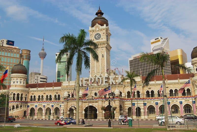 苏丹阿卜杜勒萨玛德大厦的外部在独立正方形的在吉隆坡,马来西亚 免版税库存图片