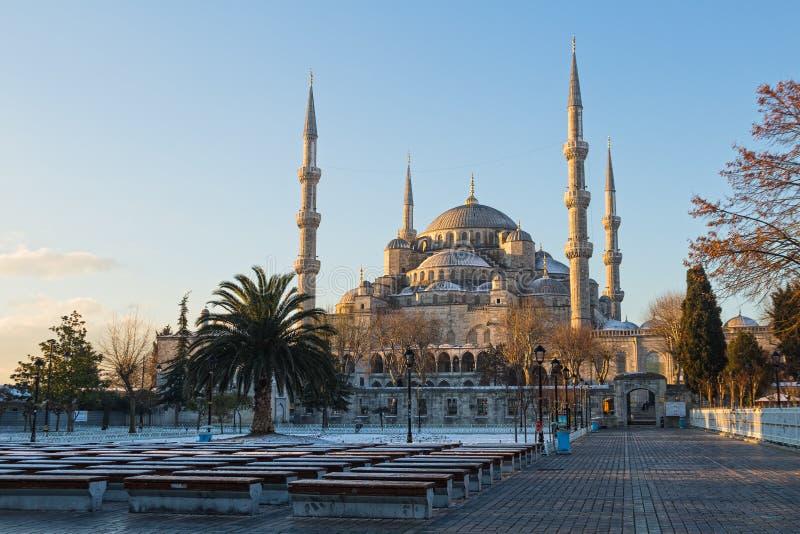 苏丹阿哈迈德清真寺(蓝色清真寺)在伊斯坦布尔,土耳其 免版税库存照片