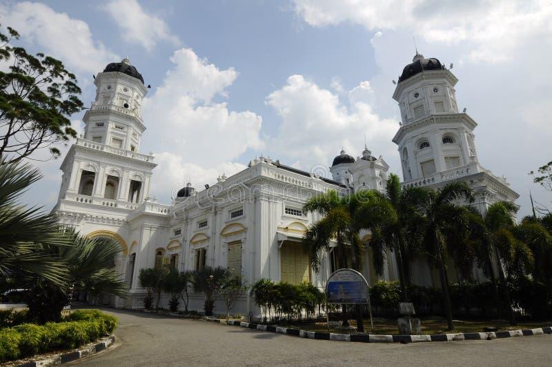 苏丹阿布・伯加尔状态清真寺在柔佛州Bharu,马来西亚 免版税库存图片