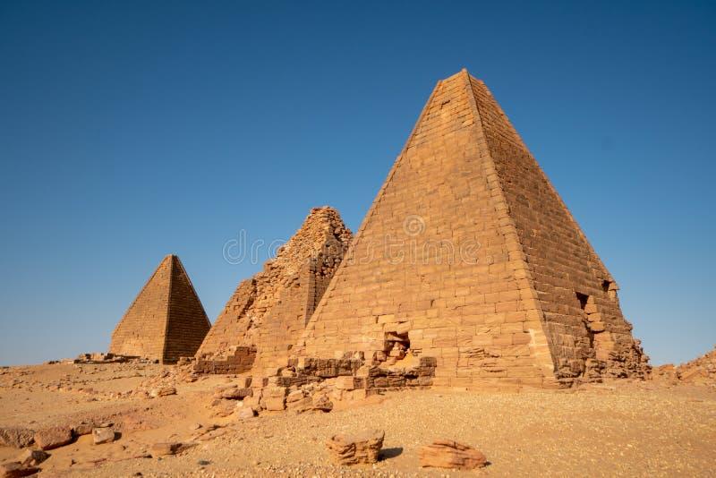 苏丹- Jebel的Berkal努比亚金字塔 库存照片
