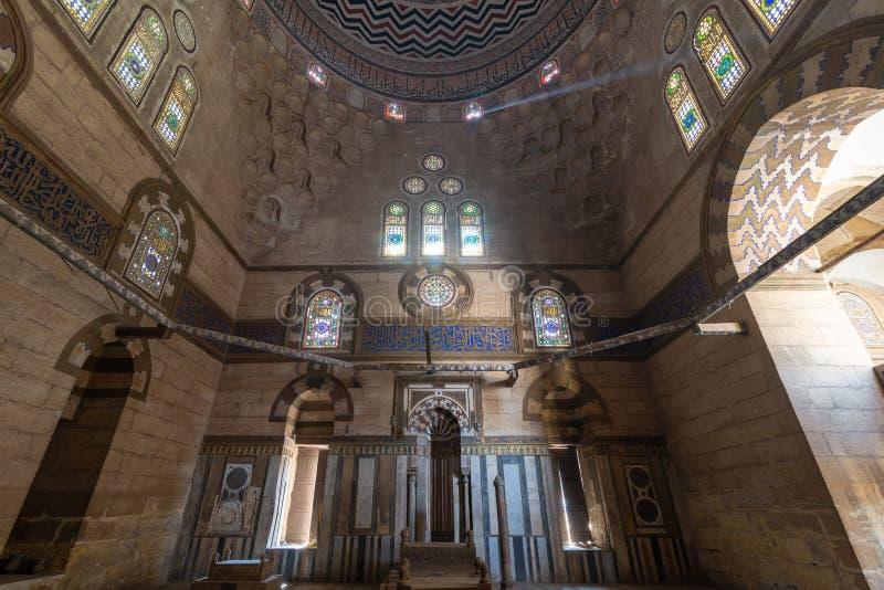 苏丹Al Nasr Farag Ibn Barquq复合体,城市死者,开罗,埃及复合体的Al Zaher Barquq和儿子陵墓  免版税库存图片