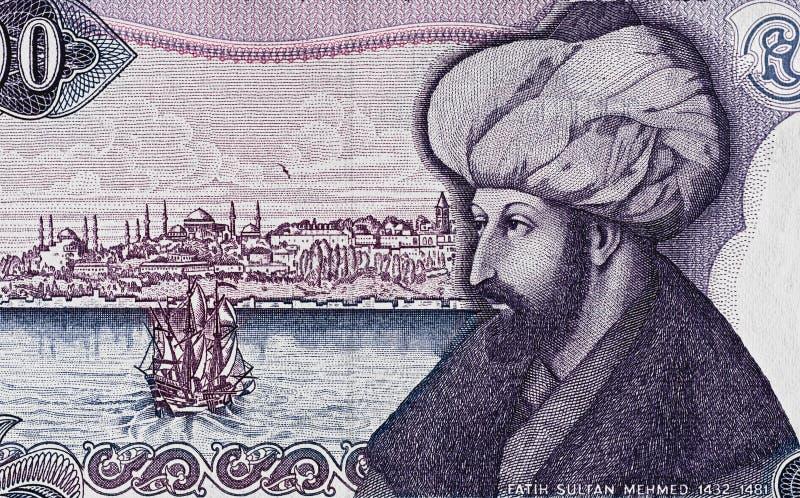 苏丹Mehmed II在土耳其语的征服者画象1000里拉禁令 免版税图库摄影