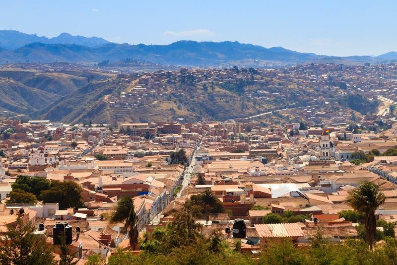 苏克雷鸟瞰图,玻利维亚 库存照片