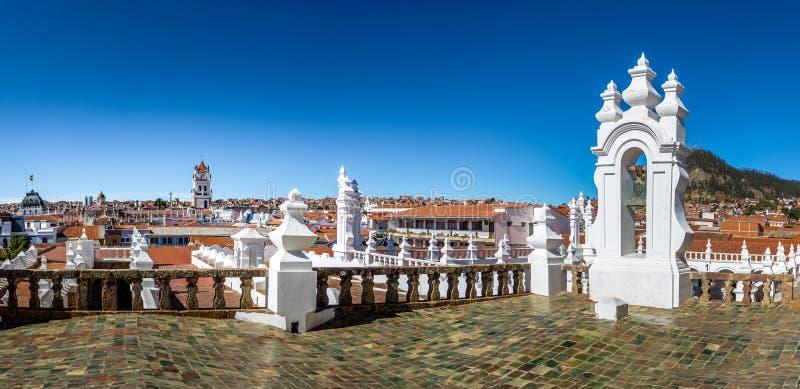 苏克雷鸟瞰图从圣费利佩Neri修道院大阳台-苏克雷,玻利维亚的 库存照片