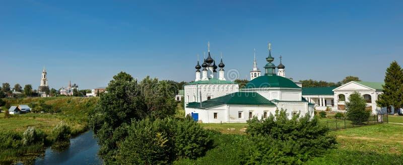 苏兹达尔的历史中心的全景 弗拉基米尔地区,俄罗斯 免版税库存照片