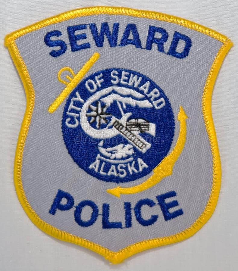 苏厄德警察局的肩章在阿拉斯加 免版税库存照片