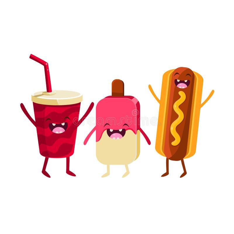 苏打、冰淇凌和热狗动画片朋友 皇族释放例证