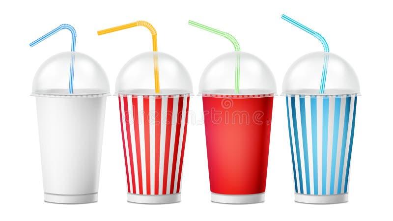 苏打杯模板传染媒介 3d为与吸管的饮料设置的现实纸一次性杯 查出在白色 向量例证