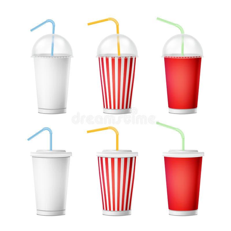 苏打杯模板传染媒介 3d为与吸管的饮料设置的现实纸一次性杯 查出在白色 皇族释放例证