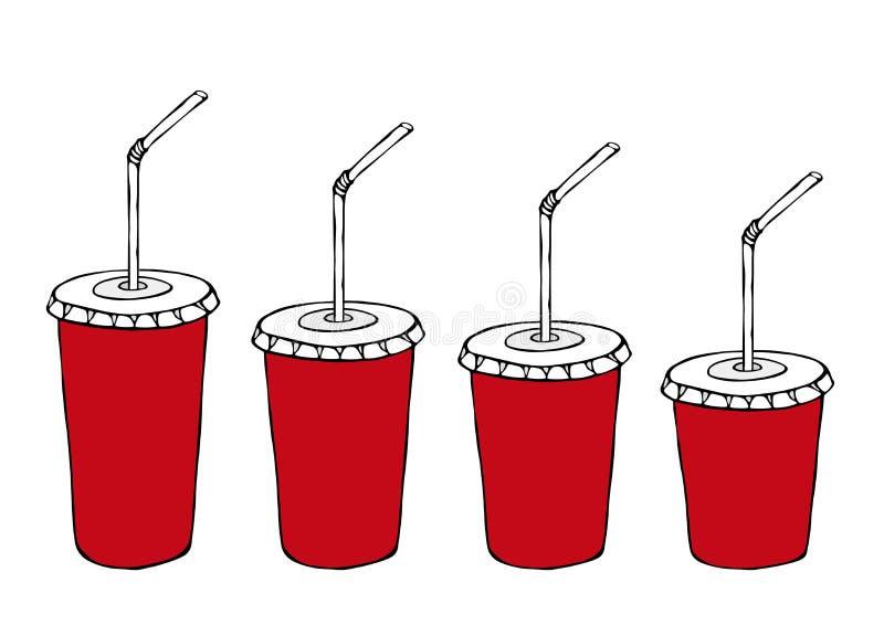 苏打的另外大小纸杯模板或与吸管的冷的饮料 包装的收藏 街道快餐菜单 手 向量例证