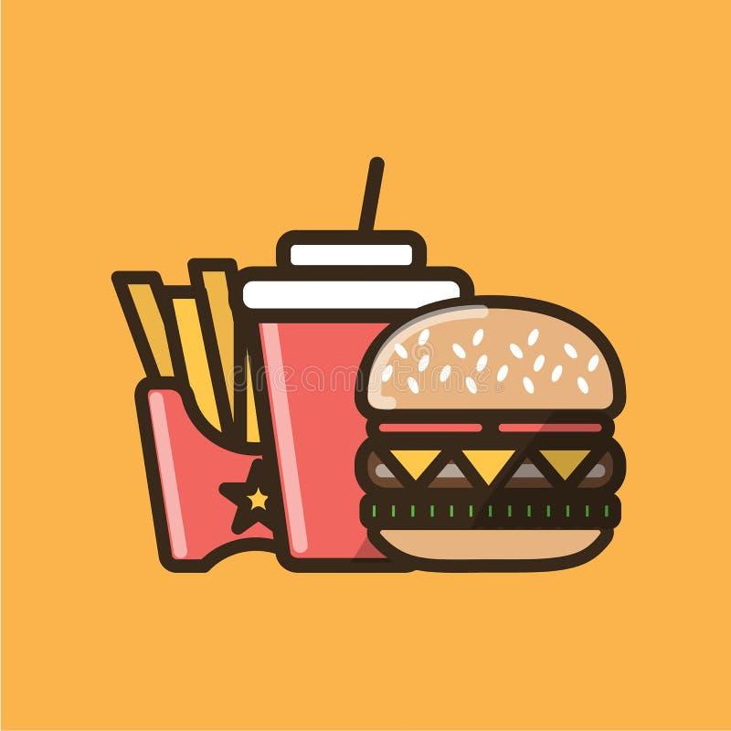 苏打软饮料、汉堡三明治和炸薯条 向量例证