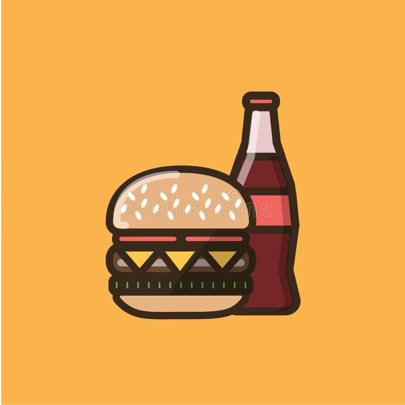 苏打软饮料和汉堡三明治 库存例证